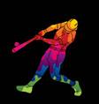 baseball player action cartoon graphic vector image vector image