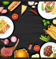 border design with different kinds of food vector image