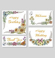 botanic card with wild flowers vector image vector image