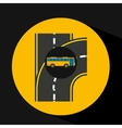 bus transport public type road vector image