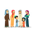 cartoon arab family characters set vector image vector image