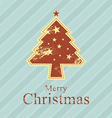 christmas tree retro style vector image vector image