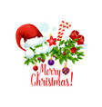christmas tree with gift ball and candy icon vector image vector image