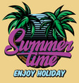 color poster template for summer time party vector image vector image
