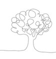 continuous line drawing tree on white vector image vector image