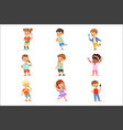 cute little children eating ice cream happy vector image