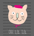 cute smiling french cat vector image