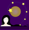cute woman with stars at night vector image vector image