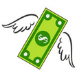 dollar with wings flies financial market vector image