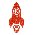 euro rocket launch icon grunge watermark vector image