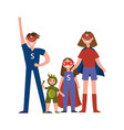 family of superheroes cartoon characters parents vector image