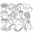 fast food decorative seamless pattern hand drawn vector image