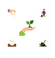 flat icon sow set of care man soil and other vector image