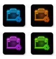 glowing neon car battery with recycle icon vector image vector image