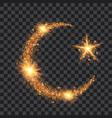 golden particles wave in form crescent and star vector image