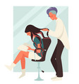 hairdresser coloring or dyeing hair while girl vector image