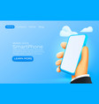 hand holding mobile smart phone with blank screen vector image vector image