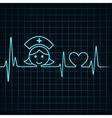 Heartbeat make nurse face and heart symbol vector image vector image
