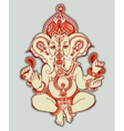hindu lord ganesha ornate sketch drawing tattoo vector image vector image