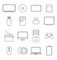 Icons digital devices thin lines vector image