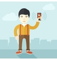 Japanese Office worker and his smartphone vector image