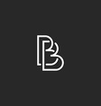 Letter B monogram logo intersection thin line