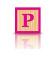 letter P wooden alphabet block vector image vector image