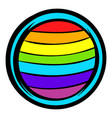 lgbt colors on button shape icon icon cartoon vector image vector image