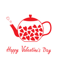 Love teapot with hearts Happy Valentines Day vector image vector image