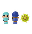 medical professionals and a virus icon set vector image vector image