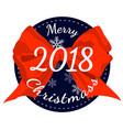 merry christmas 2018 poster with red ribbon bow vector image vector image