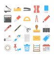 office and stationery flat icons set vector image
