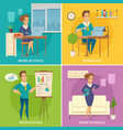 office worker 4 cartoon icons vector image vector image