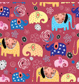 pattern elephants in clouds vector image