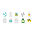 pills icon set flat style vector image