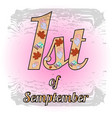 pink logo 1st of september vector image vector image