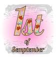 pink logo 1st september vector image vector image