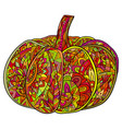 pop art doodle of pumpkin with a boho vector image vector image