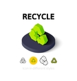 Recycle icon in different style vector image vector image