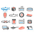 salmon farming icon set aquaculture and vector image vector image