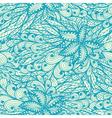 Seamless floral vintage blue doodle pattern vector image vector image