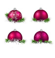 Set of realistic magenta christmas balls vector image