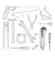 set working tools hand drawn black and white vector image vector image