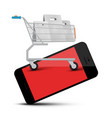 shopping cart on mobile phone web application vector image vector image