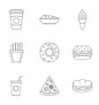 snacks icon set outline style vector image vector image