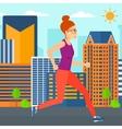 Sportive woman jogging vector image