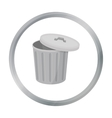 Trash can icon in cartoon style isolated on white vector image