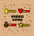 video game bars life coins treasure win symbol vector image vector image