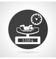 Weighing newborn black round icon vector image