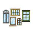windows wooden color sketch engraving vector image vector image